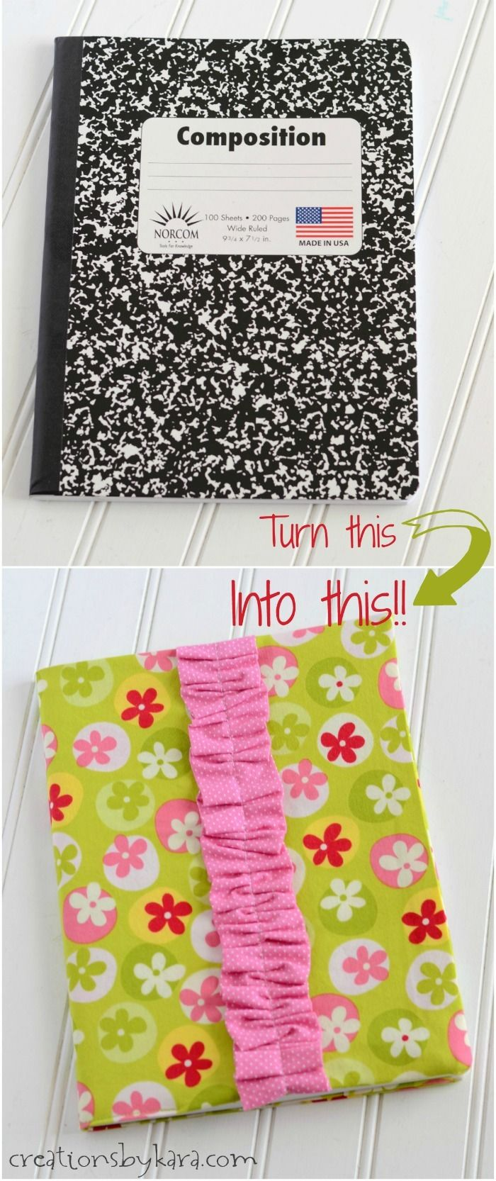 Composition Notebook Covers - these fabric notebook covers are easy to make. Use them for journals, to-do lists, and note taking. A great gift idea!
