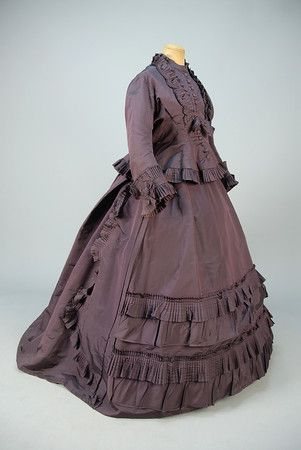 SILK AFTERNOON DRESS, FRENCH, 1870 - 1871.