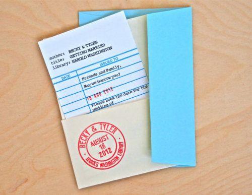 הזמנת חתונה - לא רק לספרנים awesomeetsy:  (via Library Card Save the Date // Wedding Invitation by GrahamAndOlive)