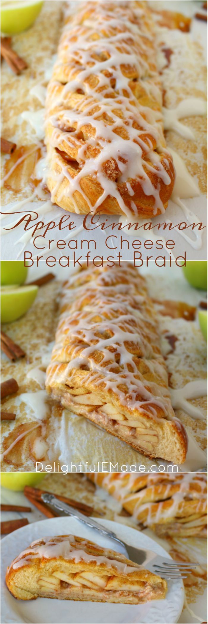 The perfect breakfast pastry for fall!  Fresh apples, cinnamon, cream cheese and a refrigerated crescent sheet come together to make the most wonderful breakfast treat that your entire family will love.  Super easy to make, and it will look and taste like