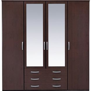 Bedroom Furniture 3 Door Dark Wardrobe 200 Wide