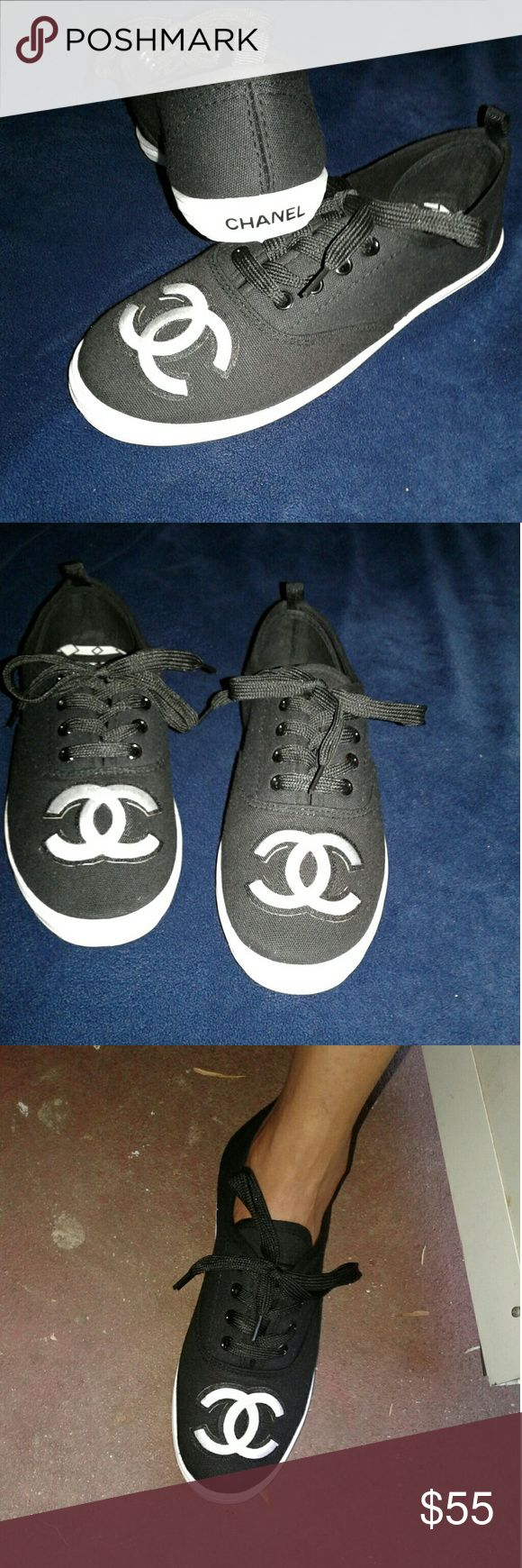 Cute Sneakers New. Size 7. Designer style..  Goes great with skinny jeans or shorts. Perfect for spring and summer. Comfy and stylish!  Great for the price.  True to size! CHANEL Shoes Sneakers