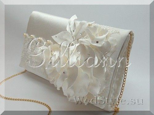 Свадебный клатч Gilliann Карлин Айвори Атлас BAG248 #weddingbag #weddingclutch