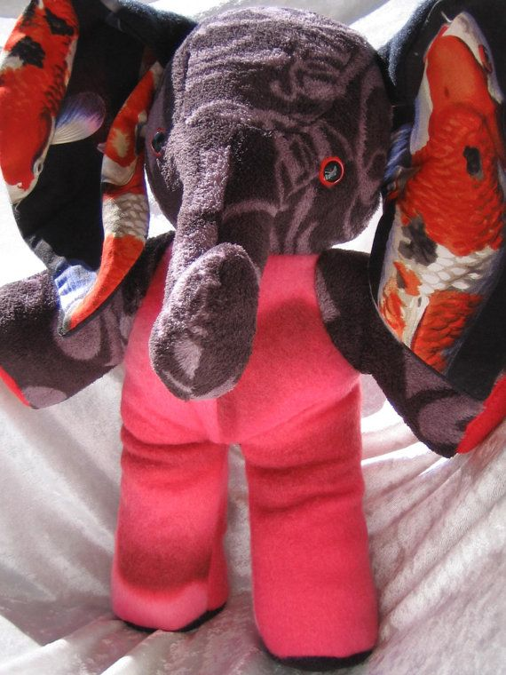 Exotic Home Decor ELEPHANT KOIS de Luxe  Black and Red Luxury Design OOAK handmade by TALLhappyCOLORS
