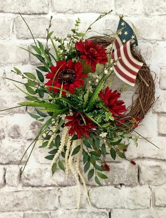 4th of July Wreath Patriotic Wreath Summer by AdorabellaWreaths, $165.00