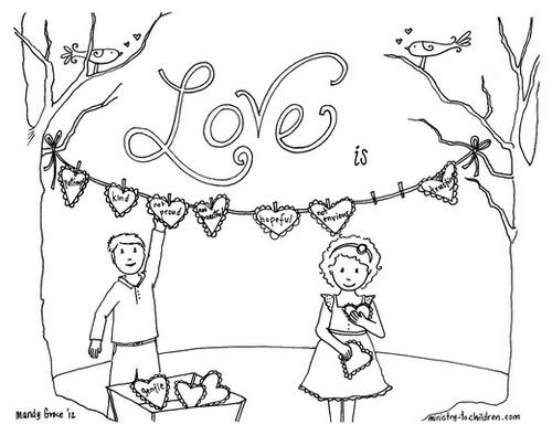 coloring page about love based on 1 corinthians 13 - Children Coloring Page
