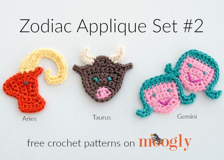 Zodiac Crochet Appliques: FREE on Mooglyblog.com! This set ...
