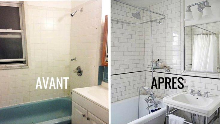Avant Après salle de bain rétro blanche rénovation Logo