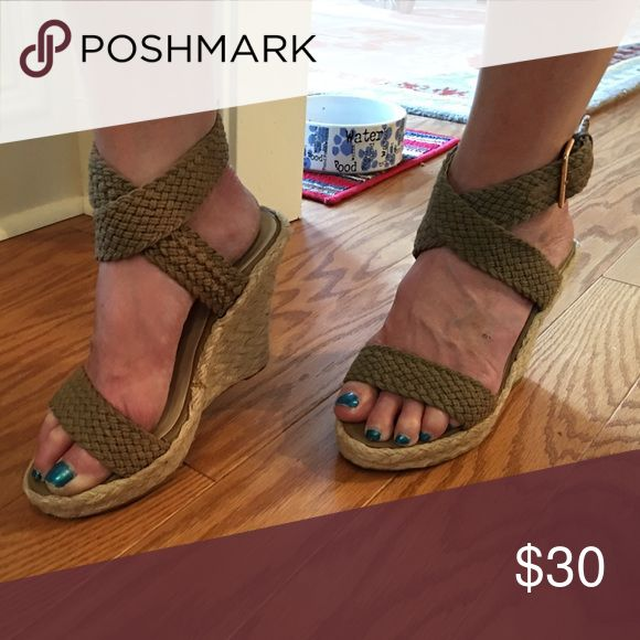 NWT Heels  Great neutral espadrilles with burlap like straps - PRICE FIRM UNLESS BUNDLED N.Y.L.A. Shoes Espadrilles