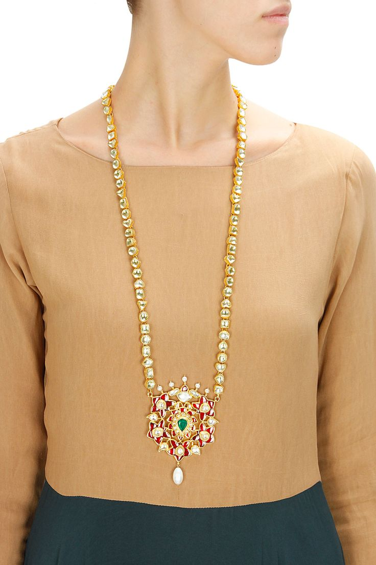 Gold plated white and red kundan necklace available only at Pernia's Pop-Up Shop.