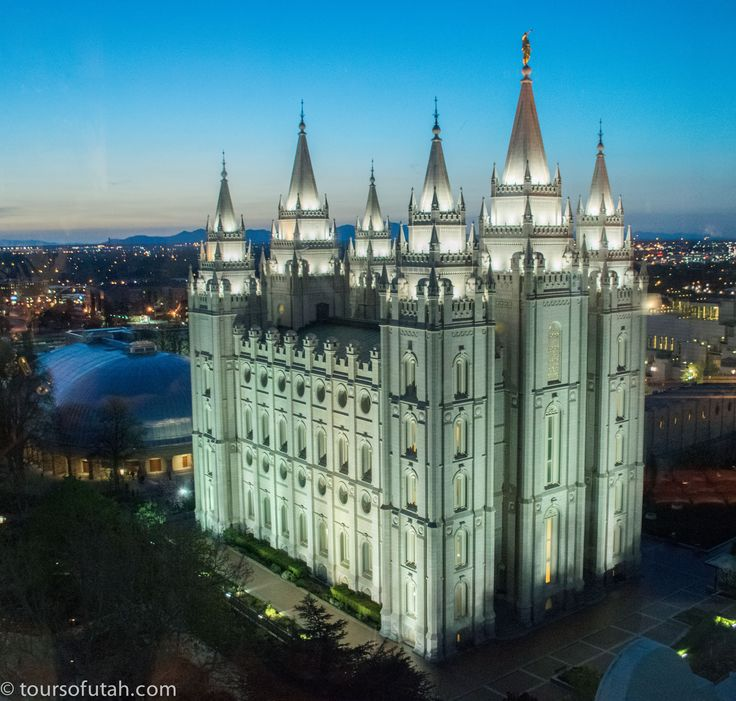 Salt Lake City Temple at Night on Mormon Tabernacle Choir Tour, Sundays & Thursdays, 5-hour sightseeing bus tour for $55  http://toursofutah.com/mormon-tabernacle-choir-tour/  The Salt Lake Temple. located at Temple Square, was completed in 1893. It has a total floor area of 253,000 square feet.