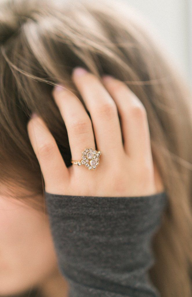 The Caitlyn ring is a Rose Cut Diamond Cluster Engagement Ring from Victor Barboné Jewelry! Shop this unique ring!