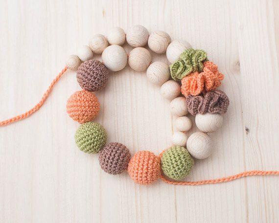 Nursing necklace / Teething necklace / Crochet nursing necklace - Green Peach Beige. $27,00, via Etsy.
