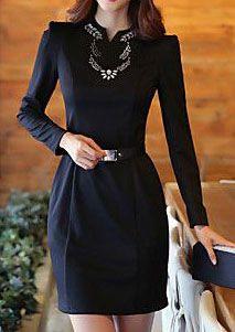 Women's V Neck Long Sleeve Midi Dress with Belt