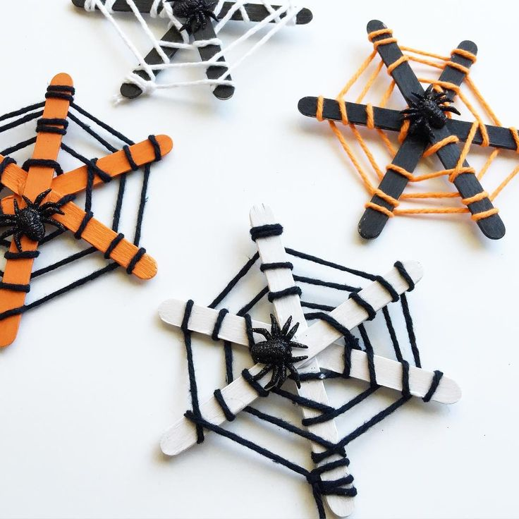 """""""We've got a fun, new Halloween craft on the blog using our favorite craft material- popsicle stick spiderwebs! These are super easy to make, and you can…"""""""