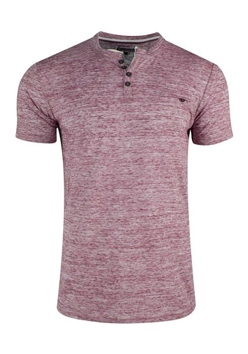 SPACE DYE HENLEY IN BURGUNDY
