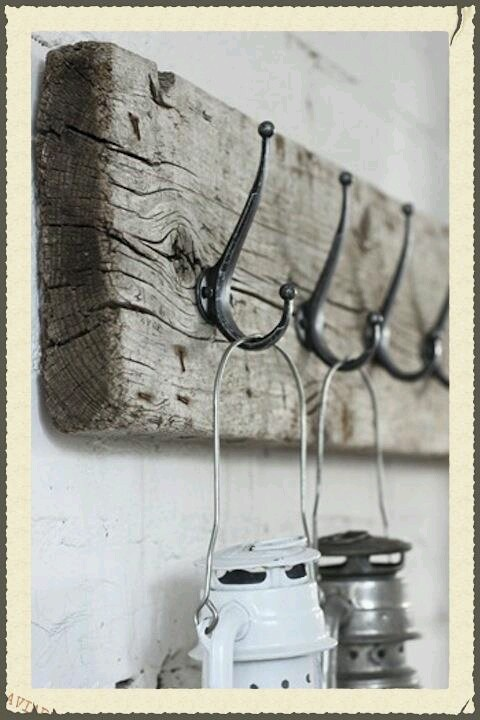 Old barn wood with hooks. For the towel rack in master bath.