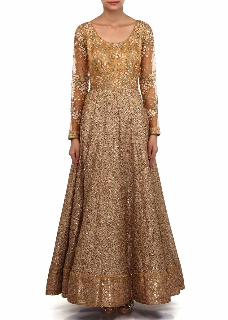 Gold anarkali suit embellished in zari and sequin embroidery only on Kalki