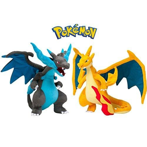 Set of 2 Mega Charizard X Y Poké Plush Toy- Cute Cuddly Charizard Evolution Toys 10 Inches-USA Seller