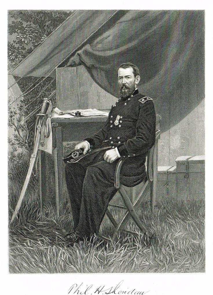 "Duyckinck's National Portrait Gallery (Military) - ""PHILIP SHERIDAN"" - Steel Engraving - 1862"