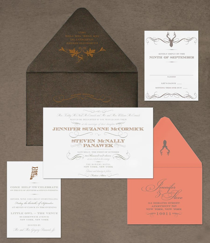 wedding invite Pink and Brown Wedding Invitations