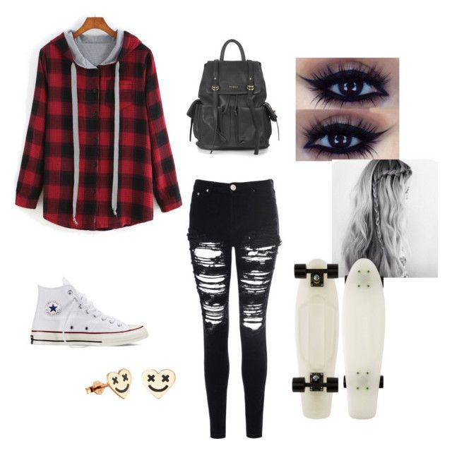 """Penny board"" by sportyem28 on Polyvore featuring Glamorous, Converse and Topshop"