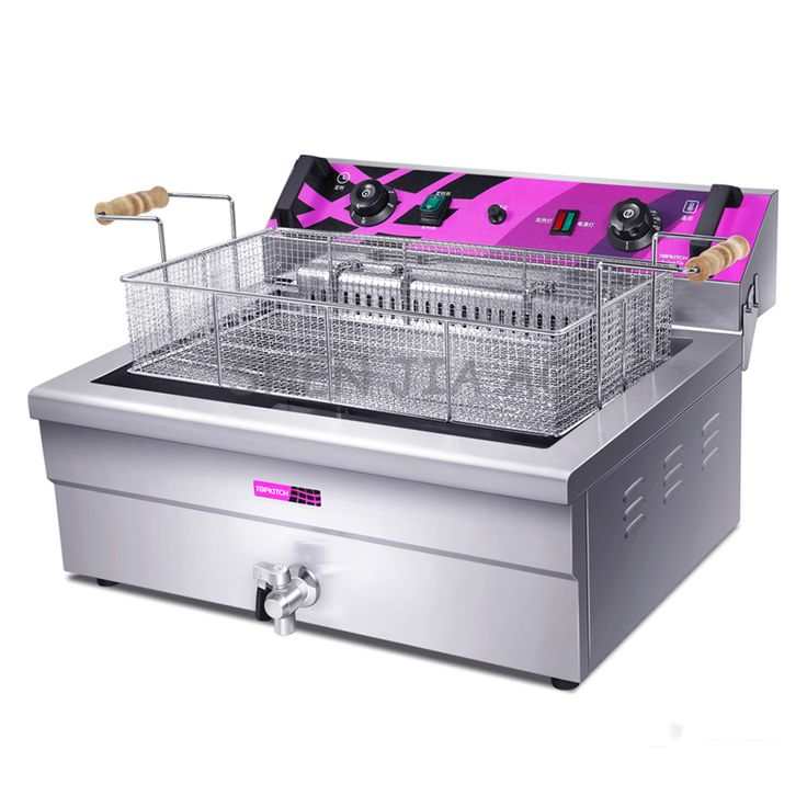 Commercial electric fryer 20L large capacity single cylinder electric fry chicken with French fries machine 220V 4.8KW