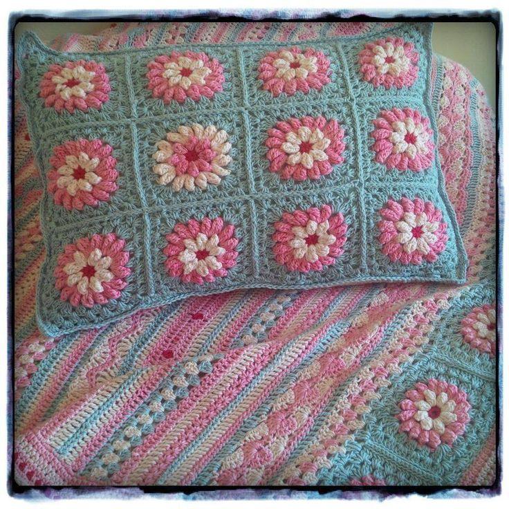 Crochet cushion and blanket.... By Kari
