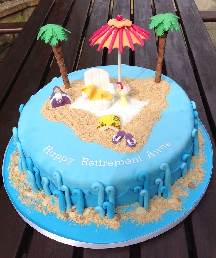 Cake Decoration Ideas Retirement : Beach themed Retirement Cake cakes Pinterest Retirement cakes, Retirement and Cakes