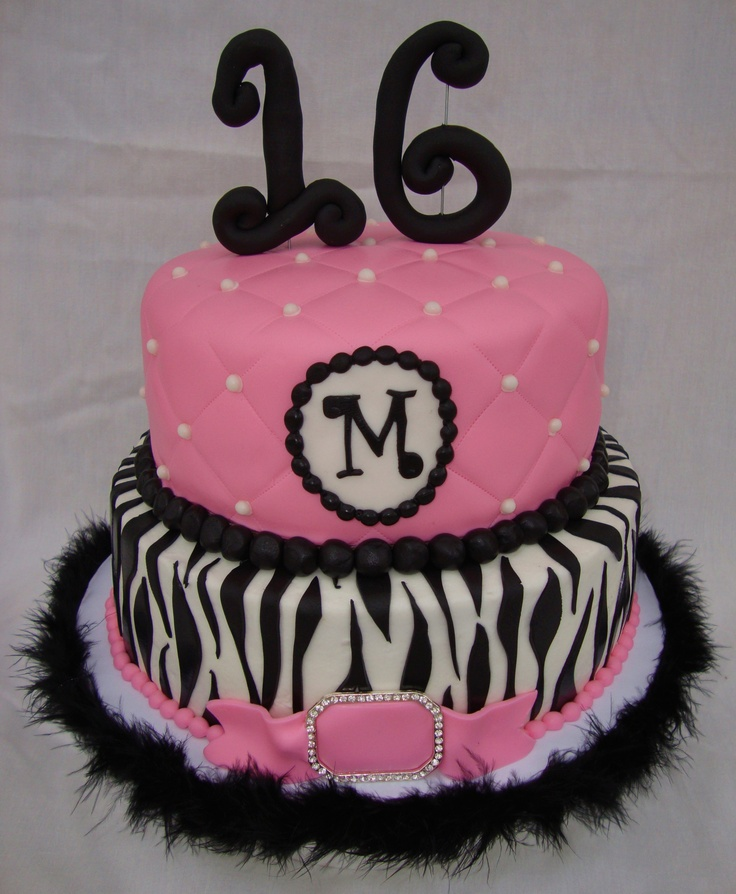 "hot pink zebra sweet 16 - Yet another (LOL) hot pink zebra stripe sweet 16 birthday cake. This one is 8""/10"", top tier covered in fondant, sugar pearls, all other decorations fondant, rhinestone brooch. Very similar to one I made a few months ago."