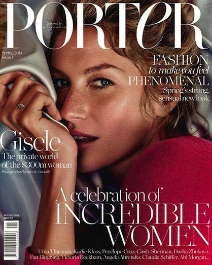 Gisele Bundchen lands the first cover of Net-a-Porter's magazine Porter.