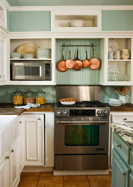 I love the old look of bead board and thought  this use of bead board was unique  -  by FRENCH COUNTRY COTTAGE: Kitchen backsplash- Inspirations