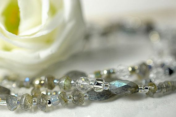 Labradorite and rock crystal bead soup by CandyGemstoneDesigns