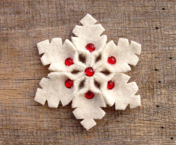 Red And White Snowflake Pin Handmade Wool Felt by WanderingLydia