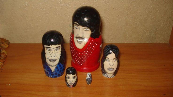 Set of 5pc hand painted wooden russian matryoshka nesting dolls THIN LIZZY rock band by Matreshkas on Etsy