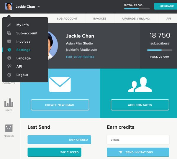 Jackie Chan Flat Dashboard UI