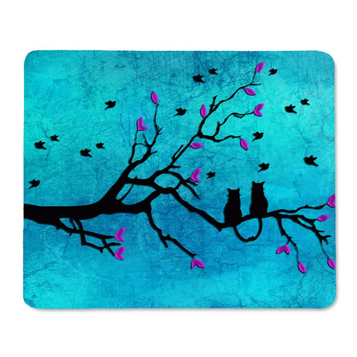 Two cats on tree teal sky