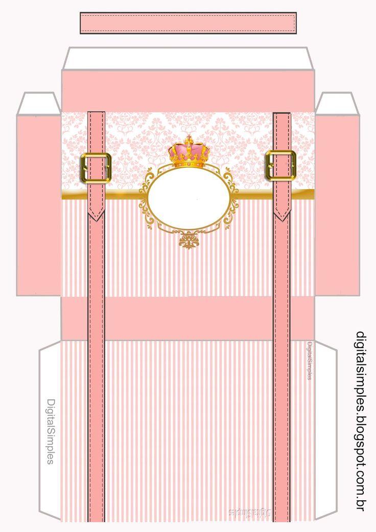 Corona Dorada y Rosa: Caja con forma de Maleta para Imprimir Gratis.