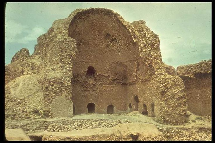 """Ardashir's palace is a monumental structure of rough stone and gypsum mortar, built without fortifications, after his accession. Rectangular halls in the palace were roofed with domes constructed of rubble and gypsum mortar. This exceptionally strong and resilient dome rested on a transitional zone that transformed the rectangular walls of the room into a circular base for the cupola through the use of a small arch, the squinch, built above the four corners of the walls."