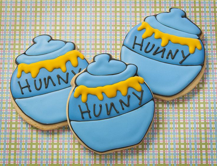 Honey Pot Winnie the Pooh style.  Custom decorated sugar cookies.