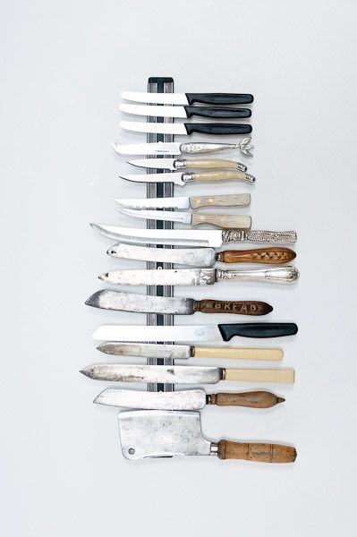 magnetic knife strip in kitchen - vintage looking knives & rack, via adriaan louw photography