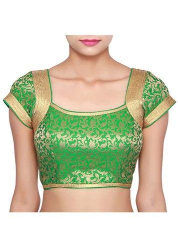 Simple Blouse Designs-Green Silk Saree Blouse 6