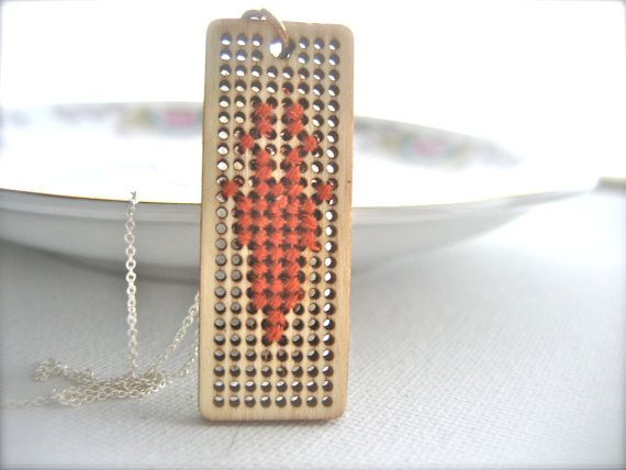 Deer cross stitch necklace wood pendant by Monikagifts on Etsy