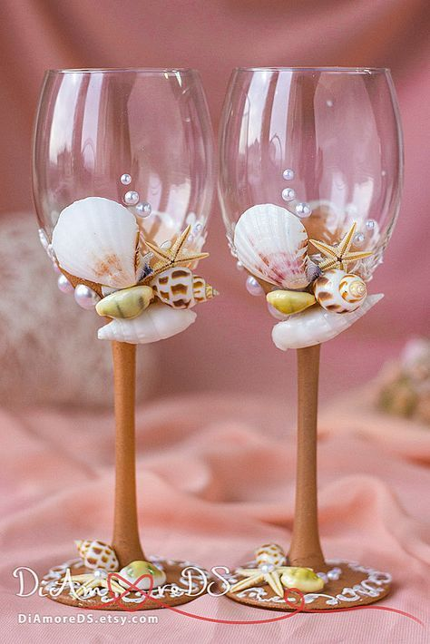 Beach Wedding Wine Glasses Personalized Wine Glasses Sea