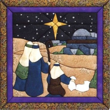 """#852 O' Little Town In honor of Christmas, what a beautiful perspective looking down towards Bethlehem beneath the guiding star. 12"""" x 12"""" Kit includes board, instructions, pattern and fabric! $23 Ages 8+ Just trace, cut and tuck! www.no-sewcrafts.com"""
