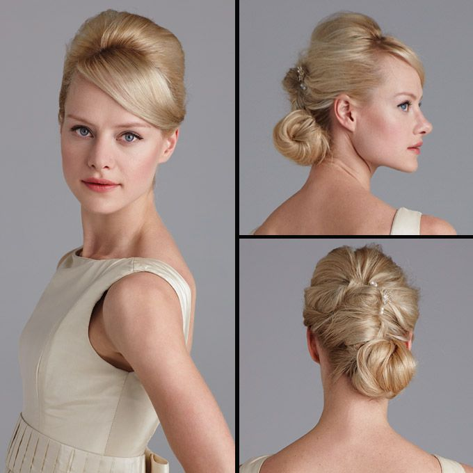 Brides.com: . Bateau + Reverse French Twist. This neckline falls right at, or sometimes above, the collarbone, making an updo your best bet. Anything too sexy or casual won't fit with this demure look, so stick to a clean, sophisticated hairstyle. Here, we update the French twist by gathering hair at the crown, twisting down, then wrapping the twist into a neat chignon. Malone gown, $3,995, Karen Hendrix Couture. Sage hairpin, $25, and Triple Pearl hairpins, $10 each, all Tigerlilly…