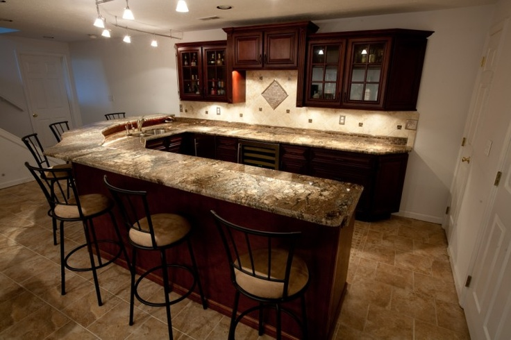 Basement Bar In Fire Bordeaux Granite By Granite Grannies