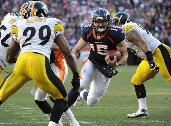 Broncos leading the Steelers (Playoffs, 8 Jan 2012)