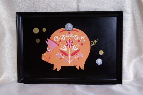 MidCentury Black Resin Piggy Bank Serving Tray by JingleBeanFarm