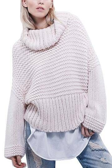 Pink Turtleneck Chunky Oversized Knit Jumper - US$23.95 -YOINS